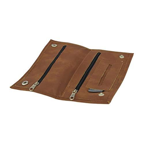 Tabaktasche Ciggy Jumper® im Premium Used Leather Style mit Single, doppel oder Langen Blättchen Fach, Tabak-Beutel Drehertasche mit Filterfach Blättchenhalter div. Farben (Single Cognac)