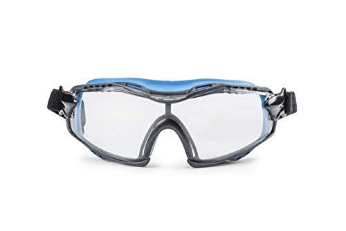 Solid. perfekt sitzende Schutzbrille | Staubdichte Arbeitsschutzbrille mit universeller Passform | Kratzfeste, beschlagfreie und UV-schützende Gläser | Klare Linse | Blau