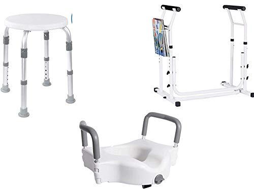 Vaunn Medical Bathroom Safety Bundle - Shower Stool Chair, Raised Toilet Seat and Adjustable Toilet Rail
