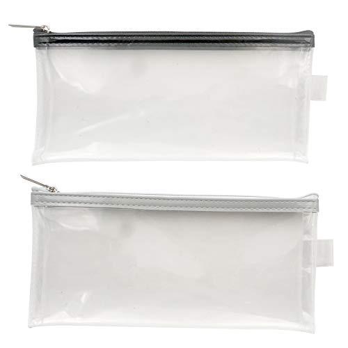 Akuoly Federmäppchen Transparentes Pencil Cases 2 Stück Reißverschluss Beutel wasserdichte Schulmäppchen, 21cm x 9cm