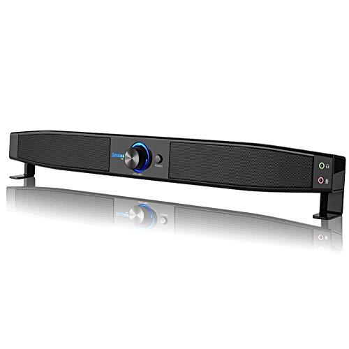 Smalody USB Soundbar Altoparlante per PC Sound Bar con porta per auricolare/microfono per computer desktop