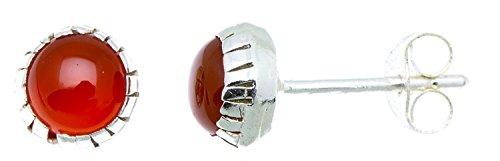 CHICNET Ohrstecker Silber Rand Karneol rot rund 3-5 mm 925er Sterling Silber Stein Silberohrstecker