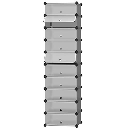 SONGMICS 10-Tier Shoe Rack,Plastic Cube Storage Organizer Units, DIY Modular Closet Cabinet with Doors, Includes Rubber Mallet and Anti-Tipping Device, Gray ULPC010G01