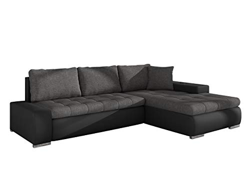 Elegante Sofa Orkan Mini mit Schlaffunktion und Bettfunktion, Eckcouch Ecksofa mit Bettkasten, Couch L-Sofa Große Farbauswahl, Beste Qualität (Soft 011 + Lux 06)