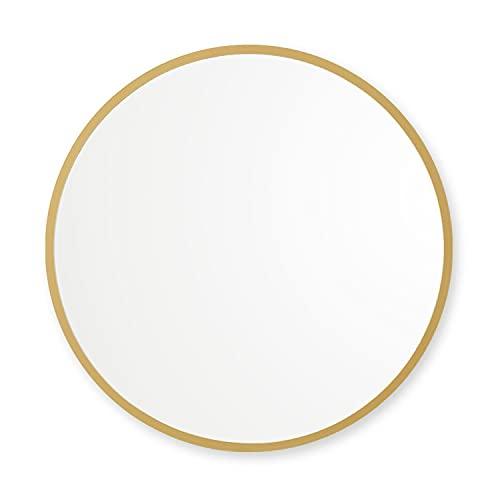 "Better Bevel 24"" x 24"" Matte Gold Rubber Framed Mirror   Round Bathroom Wall Mirror"