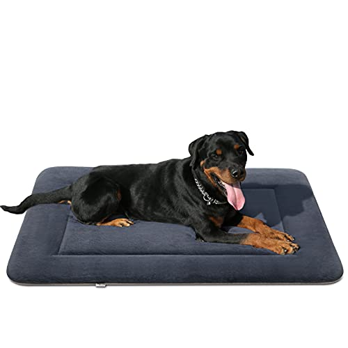Magic Dog Soft Dog Bed Large Crate Pad Dog Mat Machine Washable Pet Bed with Non-Slip Bottom, Dark Gray