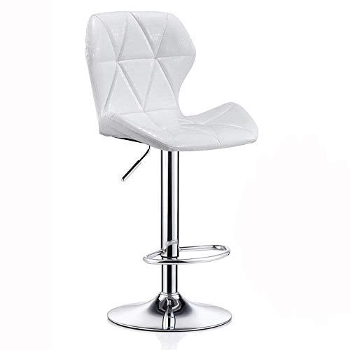 JIEER-C stoelen, barkruk, rugleuning, in hoogte verstelbaar, kunstleer, 360 ° draaibaar, eetkamerstoel, gewichtsbal, 150 kg, zithoogte 60-80 cm (kleur: wit) Regulable