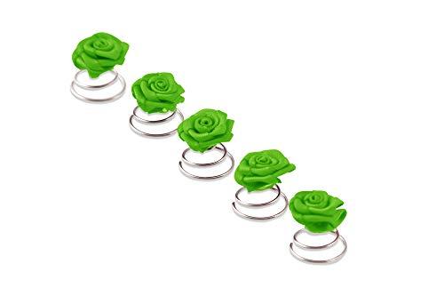5 x Rosen Curlies - Brauthaarschmuck - Curlie - Haarschmuck   Grün