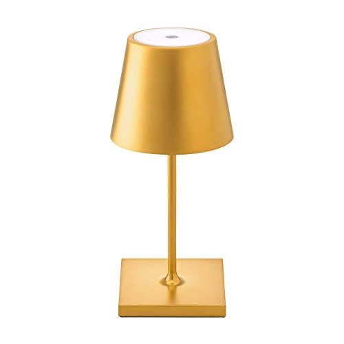 SIGOR Nuindie Mini - Dimmbare LED Akku-Tischlampe Indoor & Outdoor, Höhe 25 cm, aufladbar mit Easy-Connect, 24h Leuchtdauer, Gold
