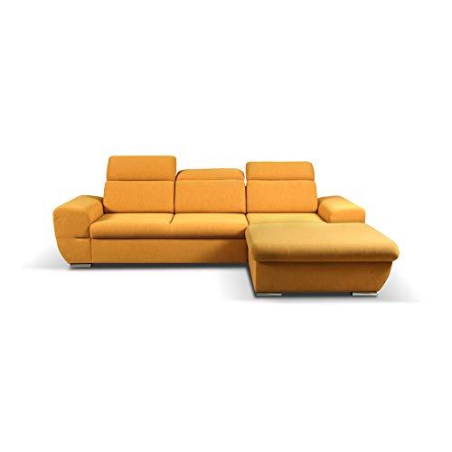 mb-moebel Ecksofa mit Schlaffunktion Eckcouch mit Bettkasten Sofa Couch Wohnlandschaft L-Form Polsterecke Fresno (Gelb, Ecksofa Rechts)