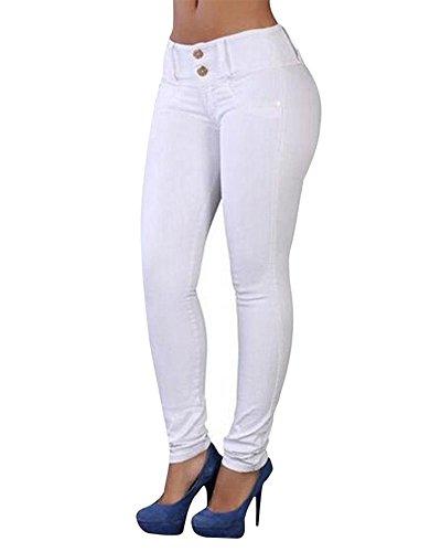 Mujer Leggings Cintura Alta Elásticos Pantalones Jeggings Blanco L