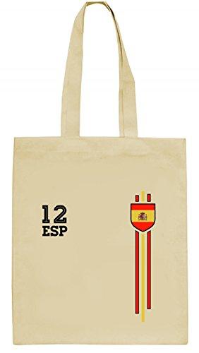 ShirtStreet Espana Spain World Cup Fussball WM Fanfest Gruppen natur Jutebeutel Stoffbeutel Tote Bag Streifen Trikot Spanien, Größe: onesize,natur