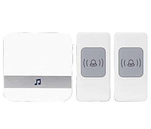 LBSST draadloze deurbelset, deurbel met een bereik van meer dan 1000 voet, 52 melodieën, 4 LED-lampjes met instelbaar volume, eenvoudige installatie, wit