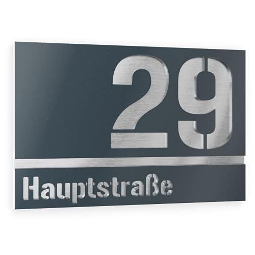 Graviers Design Número de casa de acero inoxidable V2A, 250 x 175 mm, antracita RAL 7016, resistente a la intemperie, inoxidable, personalizable según su propio número de calle, fabricado en Alemania