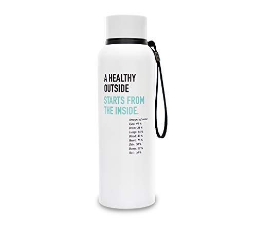 Organic Workout (Thermo) Fitness-Trinkflasche aus Edelstahl ohne Weichmacher & BPA | 700 ml | BPAfrei | doppelwandig | auslaufsicher | 12 Stunden heiß & 24 kalt | umweltfreundlich | für Sport,Freizeit