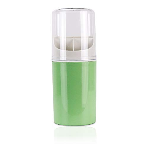 Fivtyily Kitchen Flatware Caddy Holder 4 Compartment Plastic Utensil Storage Organizer with Clear Lid for Chopstick Spoon Fork (Green)