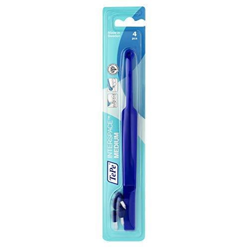 TePe Interspace Medium Zahnbürste in Blau / 1 x Winkelbürste mit 4 abnehmbaren Pinselspitzen und Spitzbüschel für eine präzise Reinigung
