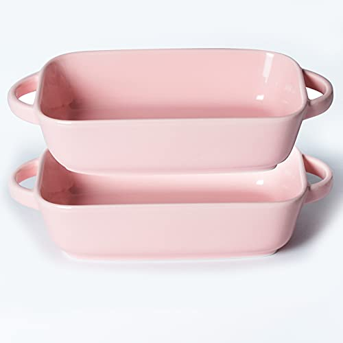 Xiteliy Ceramic Bakeware Set Small Size Baking Dish Lasagna Pans with Casserole Dish Square Pan with Double Handle (TL-BKW-7.5'', Pink)