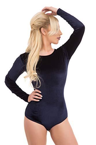 Evoni Velvet damskie body z okrągłym dekoltem | damski kombinezon z długim rękawem | przyjemne body z zapięciem | body z optymalnym dopasowaniem | sportowe body z długim rękawem