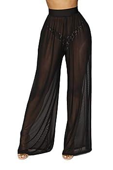 Awoscut Women See Through Sheer Mesh Pants Beach Swimsuit Bikini Bottom Cover up Party Club Elastic High Waist Wide Leg Pants  Black X-Large