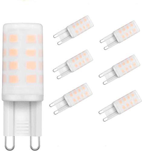 KINGSO Paquete de 6 lámparas LED G9 4W 300LM blanco cálido 3000K Las bombillas LED G9 reemplazan las bombillas halógenas 30W, G9 LED AC230V Sin parpadeo No regulable