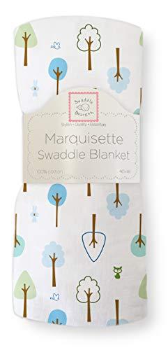 SwaddleDesigns Lange Marquisette, Mousseline de Coton de première qualité, Cute & Calme, Bleu Roi