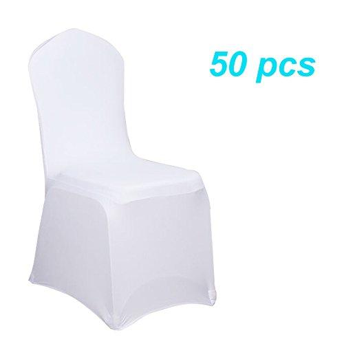 MCTECH® Schleifenband Stuhlbezüge Stuhlhussen Stretch Acelectronic Stuhlüberzug Moderne Stuhl Abdeckung für Hochzeiten und Feiern (50 Stück, Weiß)