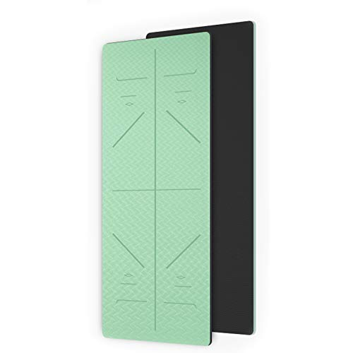 WXHXSRJ Esterilla de yoga, alineación de yoga TPE ecológica, antideslizante, ligera, plegable, esterillas de pilates de gimnasio en casa, 183 x 66 x 0,6 cm, verde matcha + gris oscuro