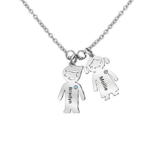 Collar de Mujer Personalizado con de 1-5 Colgante con Nombre Grabado, Madre e Hija Collar Regalo para el Día de la Madre, Cumpleaños de Navidad