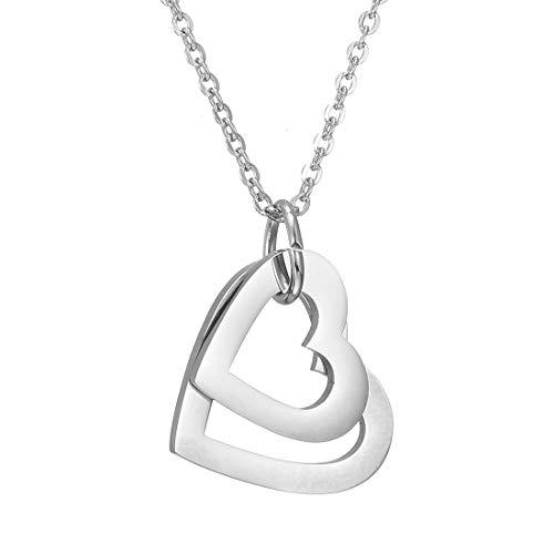 RWQIAN Collares de corazón de Mujer con 4 Nombres Colgante Acero Inoxidable Plata Color Joyería Personalizada Regalos para Pareja Mejores Amigos Madre Familia