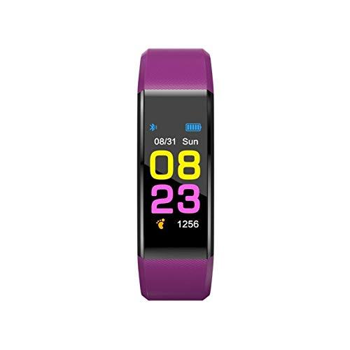 SMchwbc Reloj Inteligente Hombres Mujeres Ritmo cardíaco Monitor de la presión Arterial Fitness Tracker SmartWatch Sport Watch para iOS Android + Box (Color : Purple)