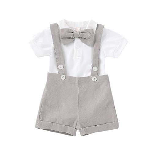 Gentleman Outfits Set for Baby Boys Short Sleeve Romper with Tie and Overalls Bib Pants Clothing Set (Light Gray, 0-6 Months)