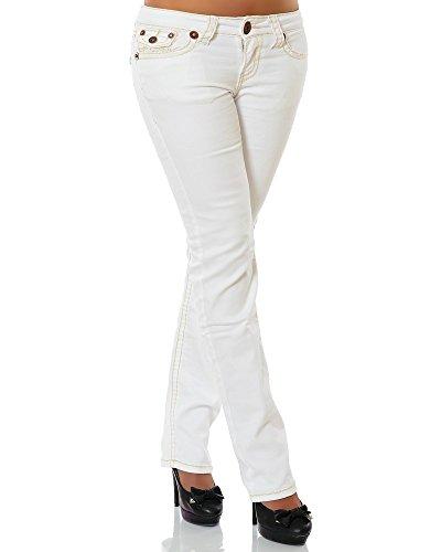 Damen Jeans Straight Leg (Gerades Bein Dicke Nähte Naht weitere Farben) No 12923 42 Weiß