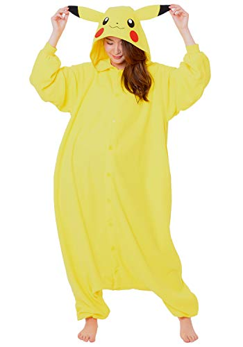 SAZAC Kigurumi - Pokemon - Pikachu - Onesie Jumpsuit Halloween Costume - Adult One Size Fits All Yellow