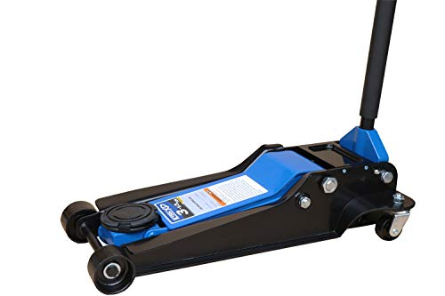 K Tool International Low Profile 3.33 Ton Service Jack; Chassis Length 28-1/3', Dual Pump Piston for Rapid Rise, Long Range Handle, Heavy Duty Steel, Hydraulic Ram Protection; KTI63133A
