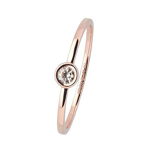 Xenox Damen Ring 9 Karat 375er Rotgold mit 0,07 ct Diamanten Zargenfassung - Zarge XG4058R, Ringgröße (Durchmesser):54 (17.2 mm Ø)