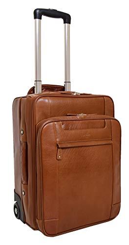 House of Luggage Exklusiv Hohe Qualität Original Cognac Leder Koffer Kabinengröße Handgepäck Cruise