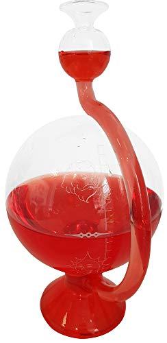 Station météo Goethe avec baromètre en verre rond - Instrument météo à poser rempli de liquide rouge - Dimensions : environ 11,5 x 20 cm
