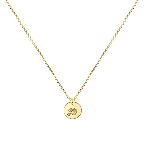 Birth Month Flower Necklace for Women 14K Gold Plated Engraved Floral Coin Pendent Necklace for Girls