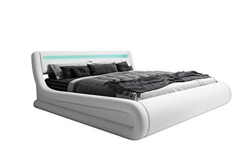 muebles bonitos Cama de Matrimonio con canapé Rodas en Color Blanco (180x200cm)