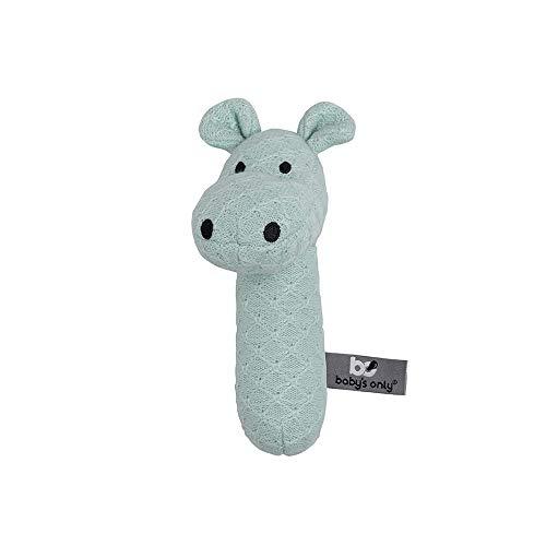 BO BABY'S ONLY - Baby Rassel Nilpferd - Babyspielzeug 0+ Monate - Aus Holz - Mit gestricktem Stofftier - Mint