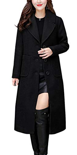 chouyatou Women's Big Notch Lapel Single Breasted Mid-Long Wool Blend Coat (Small, Black)
