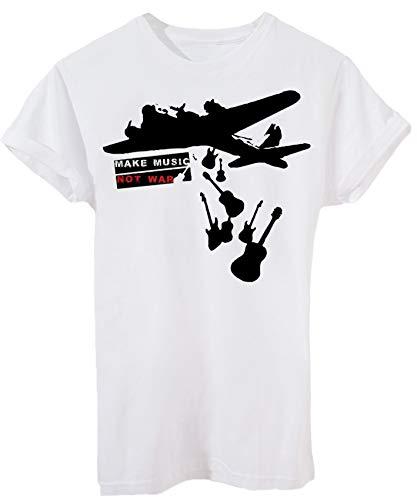 T-Shirt Rock And Music Not War - Musica - Bambino-XL-Bianca