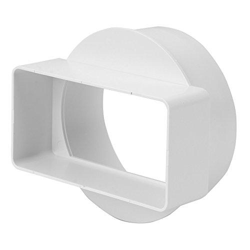 Lüftungskanal Flachkanal Rohrkanal Rundkanal Abluftkanal für Dunstabzugshaube Bogen T-Stück Umlenkstück 110x55mm 220x55mm DN100 DN125 Reduzier- / Übergangsverbinder (Übergangsstück kurz 110x55/Ø100mm)