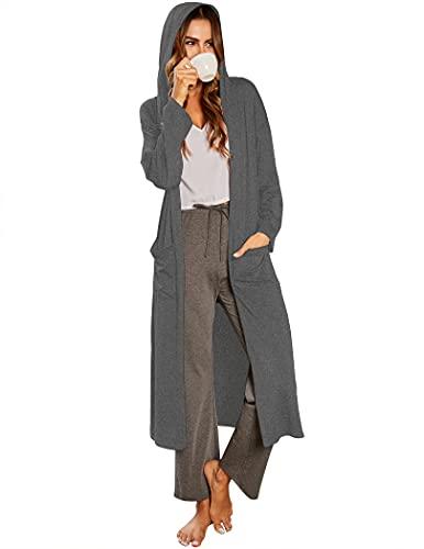Ekouaer Women House Coat Open Front Robes Full Length Nightgowns Pockets Long Sleeve Loungewear Hooded Bath Robe