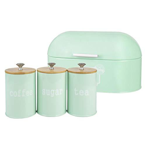 PETSOLA Metall Aufbewahrungsbehälter Brotkorb Lebensmittel Aufbewahrungskorb mit 3 x Zuckerdose Leer Streudosen für Tee, Zucker, Kaffee, Gewürze