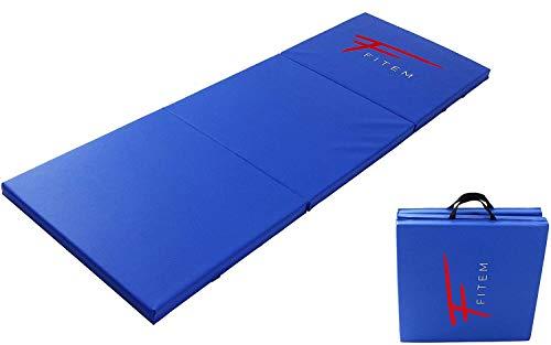 Fitem Tapis de Sol Pliable Epais Haute Gamme Taille 180 x 60 x 4 cm avec Poignets de Transport pour Gym, Yoga, MMA, Sport, Gymnastique, Fitness, Pilates, Musculation