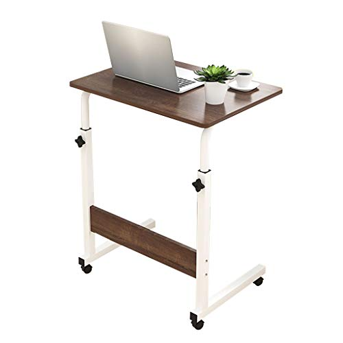 LAMXF-Tables Consoles Ordinateur Portable Brun Plateau Amovible Ordinateur Universel Support de Roue Table pour Ordinateur Portable MDF matériel Bureau pour canapé/Chambre à Coucher/lit
