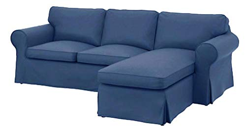 The Dense Cotton Ektorp Loveseat with Chaise Lounge Sectional Cover Replacement is Made for IKEA Ektorp Two Seat Chaise (Four Seat) Sofa Slipcover (Heavy Cotton Blue)