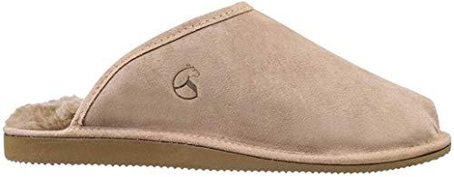 ESTRO Snug Zapatillas Hombre Cuero de Oveja Zapatos de Casa Acolchado Caliente Lana (44, Beige)